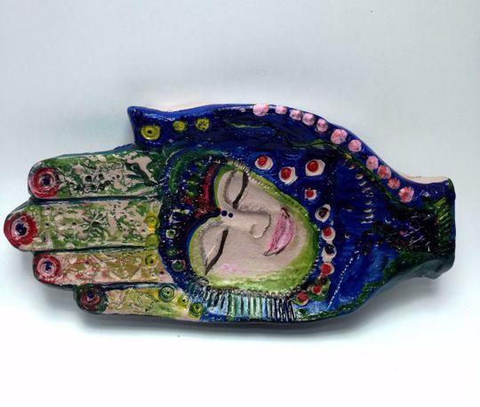 Picture of Hamsa (Hand of Fatima)  Ceramic Handmade